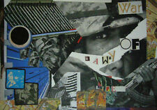 "BENJAMIN MENASCE COLLAGE ORIGINAL SIGNE ""WAR IS A WAY OF LIFE"" 2014 TBE"