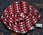 "Red & Silver 2 Tone Fixie Bicycle Chain 1/2"" x1/8"" 112L Schwinn Cruiser Bike BMX"