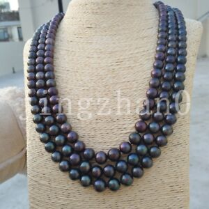"3 Row Strands Natural 8-9mm South Sea Black Pearl Necklace 18""-20""14k Gold Clasp"
