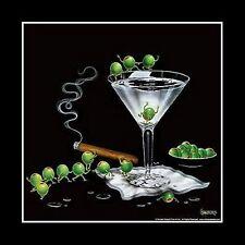 "Michael Godard,"" Martini Limbo"", Framed Art, 16x16"