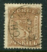 NORWAY 1863. THE SCARCE ARMS 24sk BROWN, SG 18. VERY FINE USED EXAMPLE: