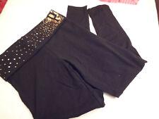 Victorias Secret PINK BLING Legging Yoga Pant Black  GOLD Sequin- Small NWT