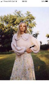 Zara Knitted Sweater Jumper With Ruffle Trim Peter Pan Collar, Size Medium