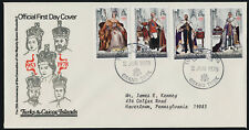 Turks & Caicos 342-5 on addressed FDC - Queen Elizabeth 25th Anniv Coronation