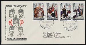 Turks & Caicos 342-5 on addressed FDC - Queen Elizabeth 25th Anniv Coronation