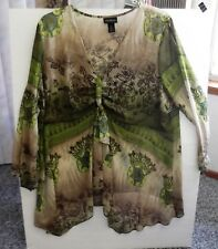 LANE BRYANT 3 X~SHEER FLOWING BLOUSE~TAN/GREENS W/ GOLD GLITTER ACCENT~POLYESTER