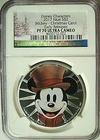 2017 Niue $2 Disney Mickey Mouse Christmas Carol Silver 1 Oz  NGC PF70 UC ER