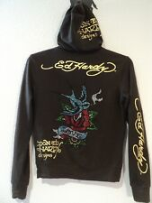 Don Ed Hardy Zip Hoodie Love Bird on Rose Brown Jacket Womens Juniors Size XL