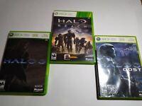 Halo Bundle Xbox 360 / ODST / Halo 3 / Halo Reach / 3 Video Game Lot