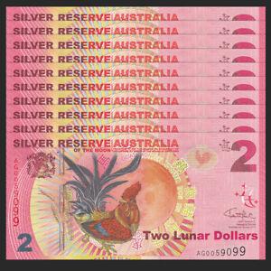 Lot 10 PCS, Silver Reserve Australia 2 Lunar Dollars, 2017, UNC>Rooster