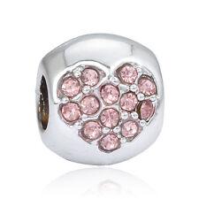 Fine Pink CZ Love Macroporous Charm Bead For European 925 Silver Charm Bracelet