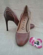 Vincenza women's heels shoes size 41 all leather tan Made in Brazil