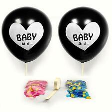 "Gender Reveal 36"" Confetti Black Balloons Pink Baby Girl Blue Baby Boy Shower"