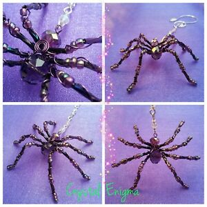 CRYSTAL Beaded SPIDER SUN CATCHER Hand Crafted Dark Purple Faceted Glass Beads