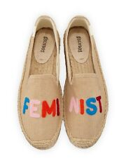 SOLUDOS FEMINIST EMBROIDERED ESPADRILLES SMOKING SLIPPERS SHOES FLATS SZ 11