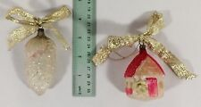 2 Antique German Mercury Glass House w/Trees and Pine Cone Figural Xmas Ornament