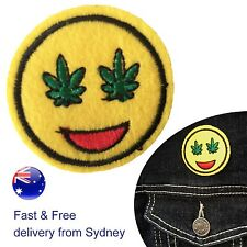 Weed Smiley Iron on patch cannabis leave hashish eye embroidery transfer patches