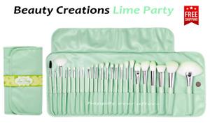 Beauty Creations Lime Party 24 PC BRUSH SET - Pastel Lime Makeup Brush Set