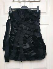 Asos Black Strapless Pleated Mini Dress Size 8