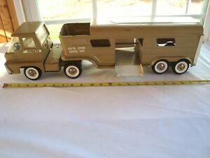 Vintage 1966 Structo Turbine Truck Vista Dome Horse 🐎 Trailer Wide White Walls