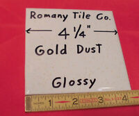 """Ceramic Cove-Base Tile *Gold Dust* 4-1//4/"""" by Camtile Co 1 pc Glossy NOS"""