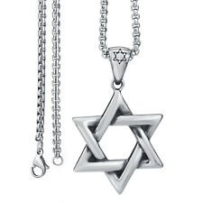 Men's Silver Star of David Jewish Stainless Steel Pendant Necklace Chain Set