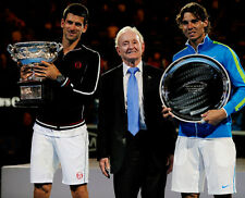 Novak Djokovic, Rod Laver and Rafael Nadal UNSIGNED photo - E134