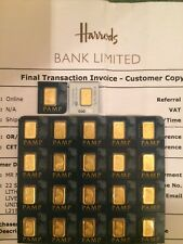 1 gram pamp Suisse 24k 999.9 pure fine gold bar.New/Sealed/Minted.
