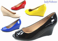 NEW Women's Patent Open Peep Toe  Low Wedge Heels Pump Sandal Shoes Size 5 - 10