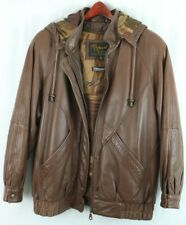 Vintage Reed Sportswear Leather Jacket Men's Small Camo Thinsulate Lining Hood