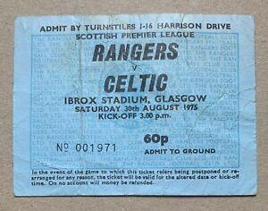RANGERS v CELTIC 1975 Rare SCOTTISH PREMIER LEAGUE FOOTBALL TICKET STUB Glasgow