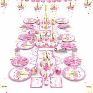 90-tlg. Einhorn Deko Set für Kindergeburtstag Mädchen Partyset mit Geschirr