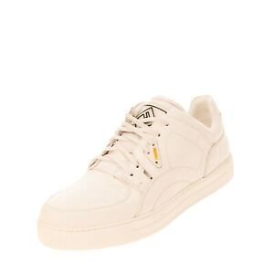 RRP €820 FENDI ROMA Leather Sneakers EU41 UK7 US8 Printed Low Top Made in Italy