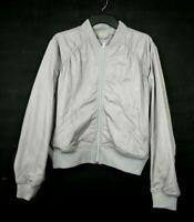Zella Womens Luxury Bomber Jacket Front Zip Long Sleeve Side Slant Lined M $119