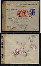 Peru nice registered censor cover to Us 1945 Kel0409