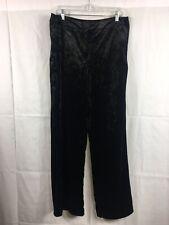 Cynthia Rowley Crushed Velvet Wide Leg Trousers BLACK Pants Women's Size 12 NEW