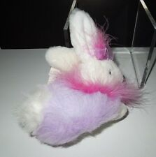 """NWT Dan Dee Cottontale Coll  6"""" White/Purple Bunny w/Pink Maribou Feathers 2002"""