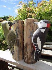 More details for fair trade hand carved made wooden woodpecker garden bird ornament sculpture