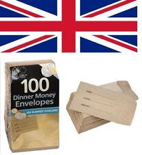 100 x School Dinner Money Wallets Packet Envelopes Petty Cash Children Kids Pack