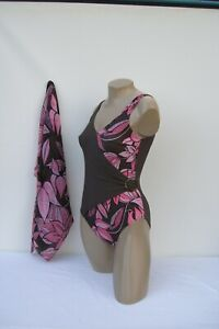 Ladies 1 Piece Swimming Costume Brown and Pink Floral Design with FREE Sarong