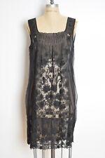 ELIE TAHARI dress sheer black silk embroidered floral flapper tunic L