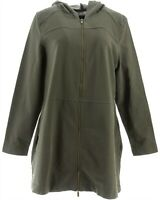 Denim & Co Comfy Knit Denim Zip Front Jacket True Olive M NEW A349710