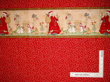 Christmas Santa Snowman Double Border Red Cotton Fabric Here Comes Santa - Yard