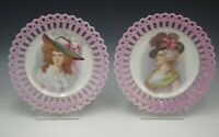 PORTRAIT PLATE LOT OF 2  ANTIQUE RETICULATED BORDER PINK ARTIST SIGNED