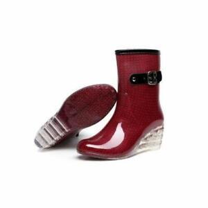 Womens Dot Mid-Calf Rain  Boots Ladies Wedge High Heels Shoes Waterproof Slip on