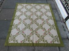 Vintage Hand Made Traditional Portages Wool Green Needlepoint 172x144cm