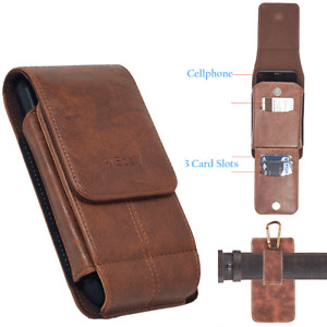 For Iphone 12,12 Pro,Brown Leather Wallet Pouch fits Otterbox, Lifeproof Case
