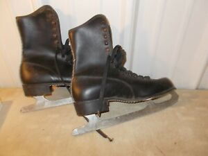 Vintage Ice Skates BLACK MENS  Figure Ice Skate IMPERIAL BLADES