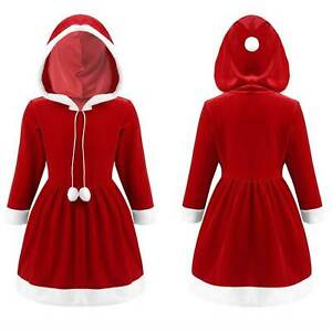 Girls Christmas Santa Outfit Dress Costume Hooded Party Children Xmas Cosplay
