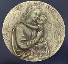 OUR LADY WITH BOY JESUS / ARTNOUVEAU STYLE / BRONZE MEDAL BY JORGE COELHO / M76